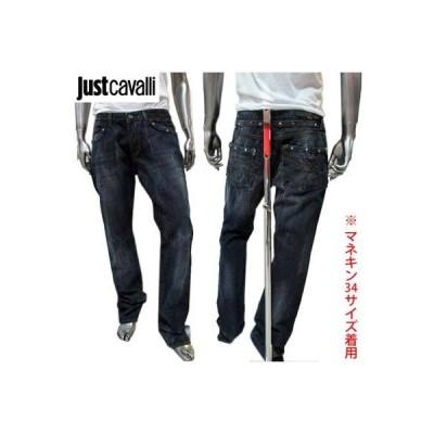 ジャストカバリ JUST CAVALLI メンズ ボトムス デニムパンツ ジーンズ ボタンロゴ刻印・スタッズ・バックロゴ入りデニムパンツ ネイビー (R49900)