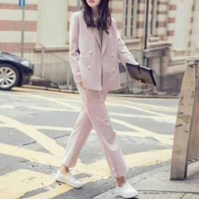 レディース ピンク ジャケット パンツスーツ L ダブル 無地 ロングパンツ セットアップ 送料無料 オフィス 女子会 M 卒業式 長袖 S