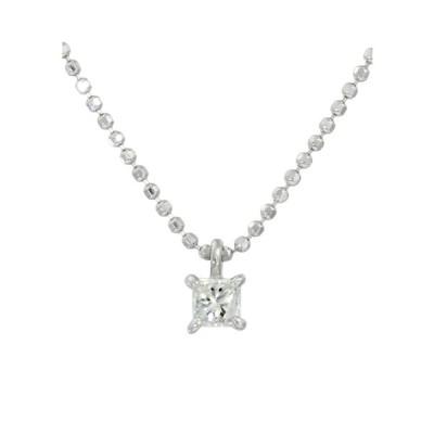 Pt900 天然ダイヤモンド 0.15ct プラチナ プリンセスカット ネックレス  送料込