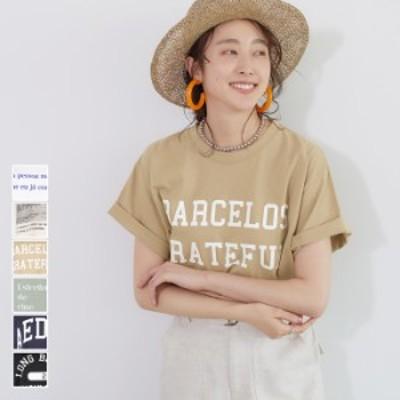 【★メール便不可】ロゴT レディース Tシャツ カットソー プリント 英字 カレッジロゴ 半袖 クルーネック 綿100%