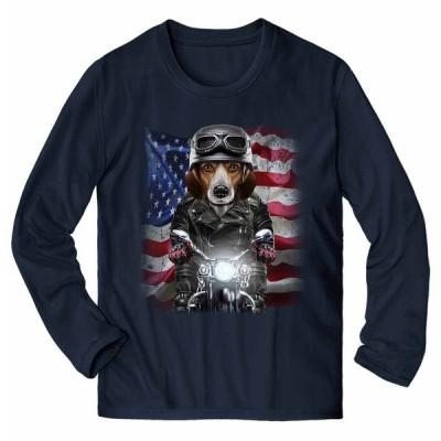 【ビーグル ドッグ 犬 いぬ バイク 星条旗 アメリカ】メンズ 長袖 Tシャツ by Fox Republic