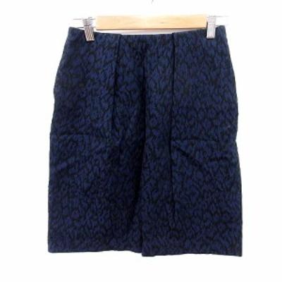 【中古】ボールジー BALLSEY トゥモローランド スカート フレア ひざ丈 総柄 36 紺 ネイビー /RT レディース