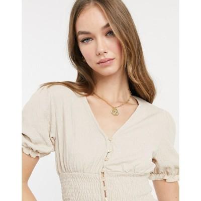 モンキ レディース シャツ トップス Monki Zanja button front blouse in beige Beige