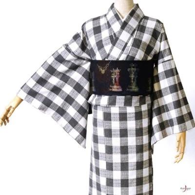 着物 木綿 チェック グレー 白 モノトーン 格子 幾何学 ベーシック シンプル 袷 洗える着物 仕立て上がり カジュアル レディース
