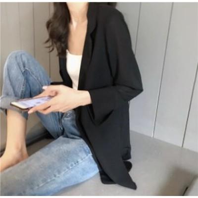 夏 テーラードジャケット レディース シフォン ジャケット 薄手 サマージャケット 7分袖 ロング丈  カジュアル ブラック グレー 通勤 OL