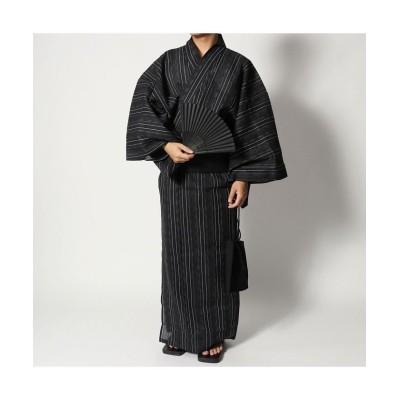 【スタイルブロック】 シジラ織り浴衣・帯・信玄袋・扇子・下駄5点セット メンズ C LL STYLEBLOCK