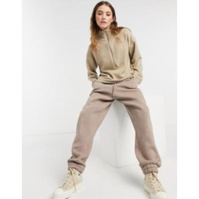 エイソス レディース ニット・セーター アウター ASOS DESIGN sweater with zipper and wide sleeves in stone Stone marl