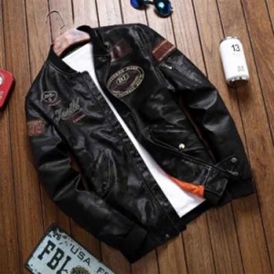 レザージャケット メンズ ライダースジャケット バイク用 刺繍 革ジャン アウター ブルゾン シングル PUジャケット