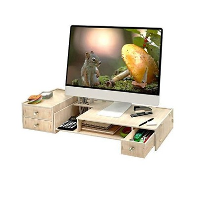 YUMUO Wooden Monitor Stand,Screen Riser Monitor Riser Screen Stand Desk Attachment Screen Enhancement Desktop Organizer Display mounting Rac
