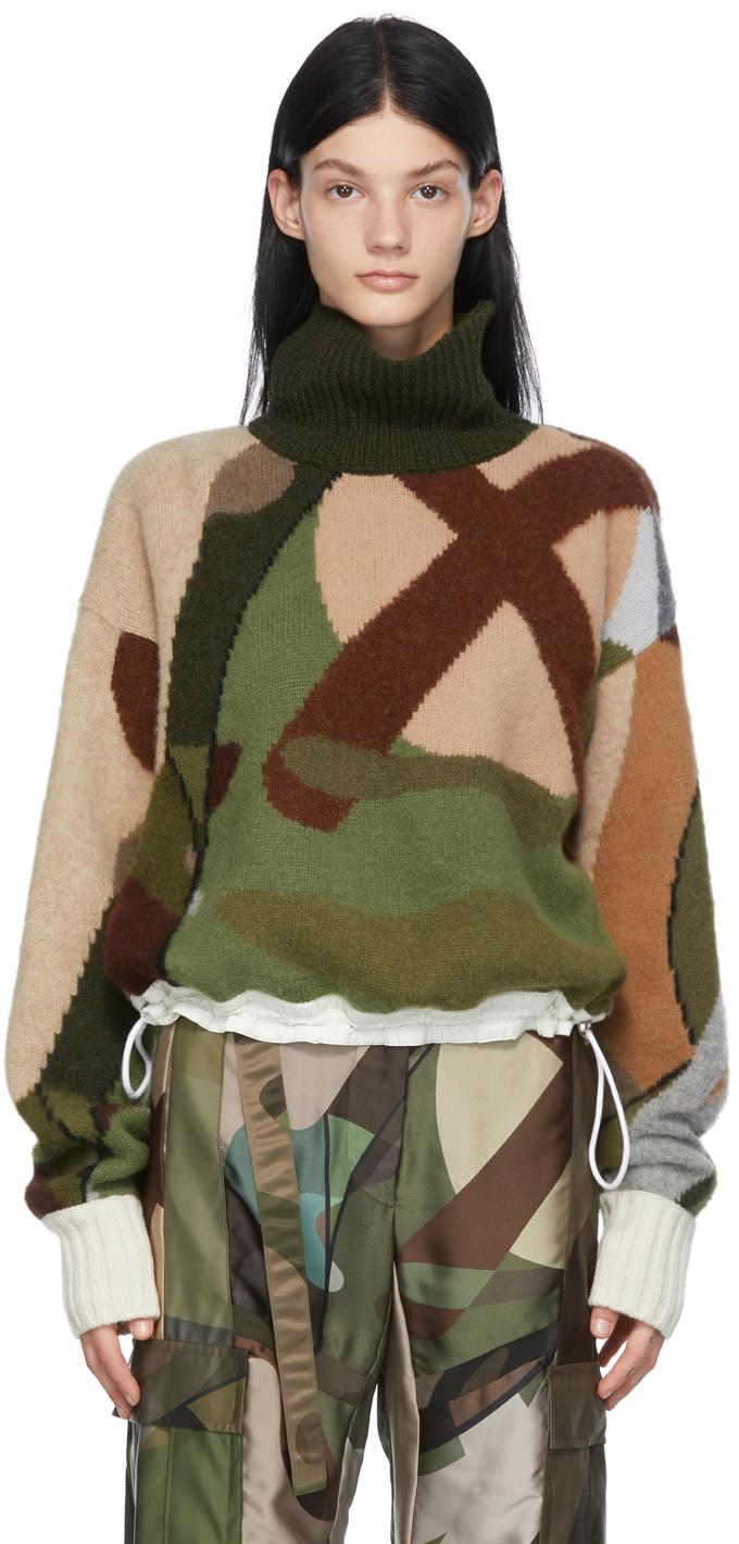 Sacai 多色 KAWS 联名迷彩羊毛高领毛衣