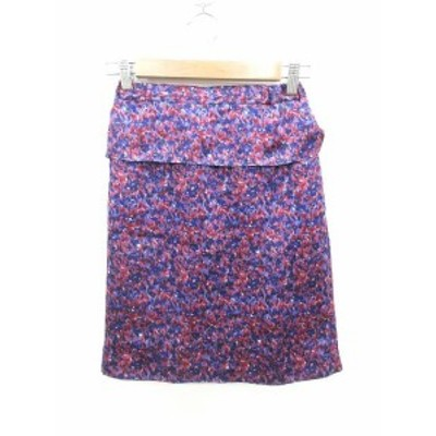 【中古】ユナイテッドアローズ UNITED ARROWS タイトスカート ひざ丈 総柄 36 紫 パープル /KB レディース