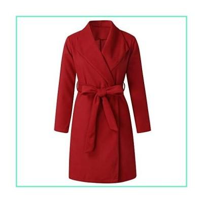 Women Swing Double Breasted Wool Pea Coat with Belt Buckle Spring Mid-Long Long Sleeve Lapel Dresses Outwear並行輸入品