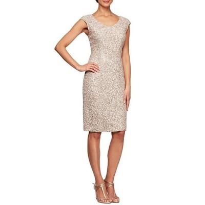 アレックスイブニングス レディース ワンピース トップス Corded Lace Cap Sleeve V-Neck Sheath Dress