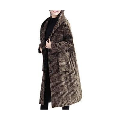 [ネコート] ロングコート フード付き フードロングコート グレンチェック おしゃれ 大人かわいい レディース (ブラウン XL)