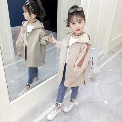 子供 トレンチコート 女の子 アウター トレンチコート 子供 おしゃれな 女の子コートキッズトレンチコートロング フード付き  110cm-160cm 子供服