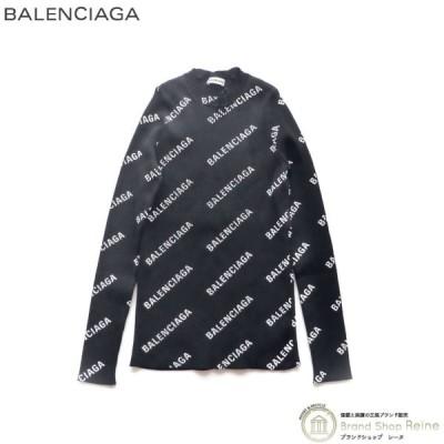 バレンシアガ(BALENCIAGA) オールオーバー ロゴ ストレッチリブ クルーネック ニット 555321  Lサイズ ブラック 新品