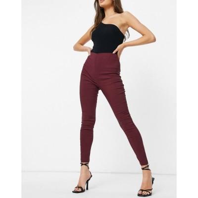 エイソス ASOS DESIGN レディース スキニー・スリム ボトムス・パンツ high waist trousers skinny fit in claret ワインレッド