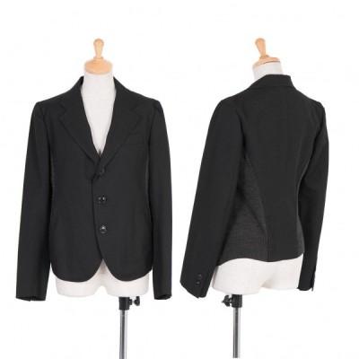 ワイズY's サイド切替デザインウールジャケット 黒グレー2 【レディース】