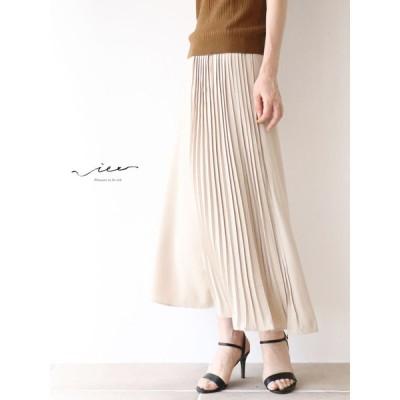 上品なプリーツを片側に  スカート 40代 50代 60代