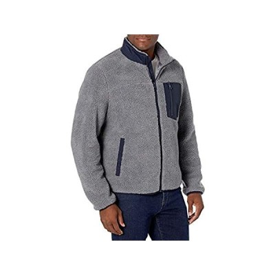 G.H. Bass & Co. メンズ 全面シェルパ ミックスメディアスタンド カラージャケット US サイズ: Large カラー: グレー