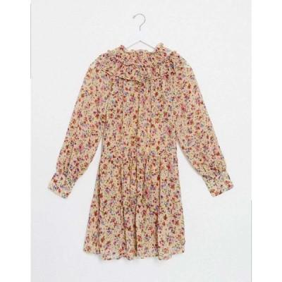 オンリー Only レディース ワンピース ワンピース・ドレス smock dress with ruffle neck in beige floral サンド