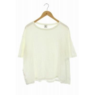 【中古】アローズ BEAUTY&YOUTH ロク 6 HOOKTAPE SHORT SLEEVE カットソー Tシャツ 半袖 白 ホワイト レディース