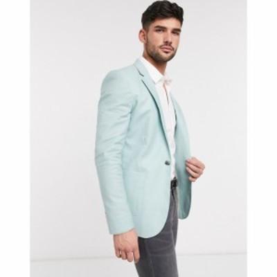 エイソス ASOS DESIGN メンズ スーツ・ジャケット アウター super skinny blazer in mint green linen ミント