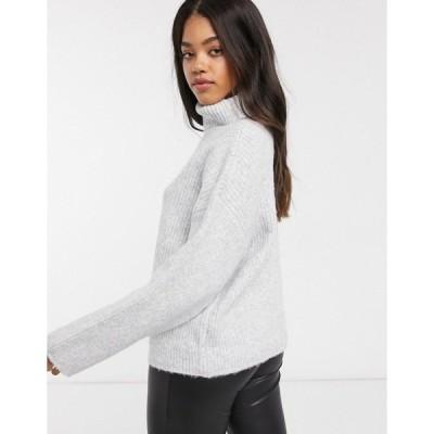 エイソス レディース ニット&セーター アウター ASOS DESIGN fluffy roll neck longline sweater Gray heather