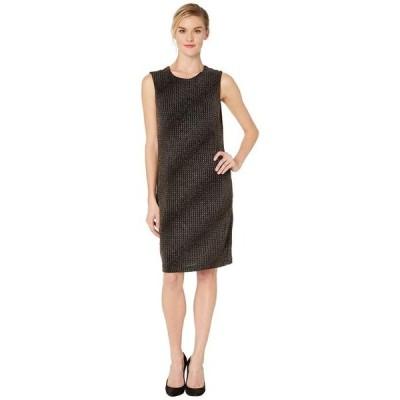 ヴィンスカムート レディース ワンピース トップス Sleeveless Gold Textured Knit Dress