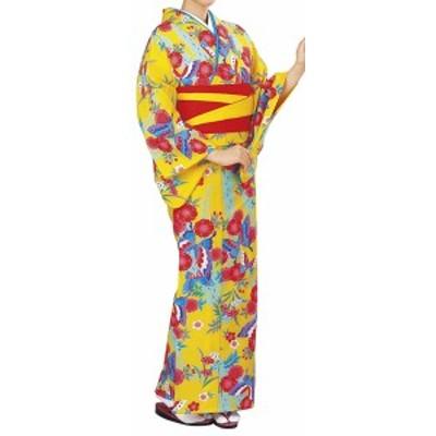 踊り衣裳【反物 柚印 手染小紋着尺】黄色 取り寄せ商品 「日本の踊り」掲載 踊り絵羽 稽古 習い事 舞踊 民謡 発表