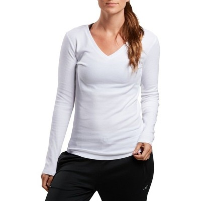 ビーシージー カットソー トップス レディース BCG Women's Horizon Modal Long Sleeve V-neck Top White