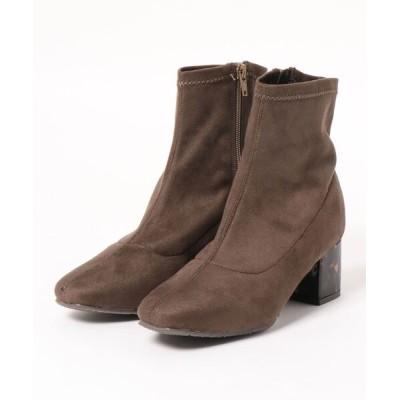 Brick Shiota Ink. / JELLY BEANS ジェリービーンズ ソフトスクエアトゥセンターシームストレッチショートブーツ WOMEN シューズ > ブーツ