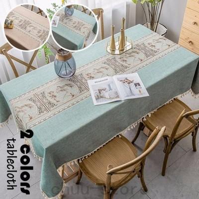 テーブルクロス北欧おしゃれテーブルセッティング布四角形長方形綿麻刺繍風景柄高級感テーブルクロスお手入れ簡単家庭用食卓カバー2色
