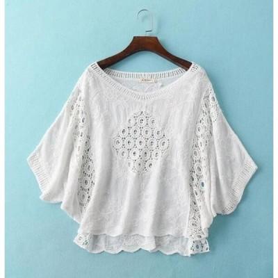 花レース ブラウス シャツ トップス レディース ブラウス きれいめ 半袖 透け感 刺繍 ホワイト フリーサイズ 全店2点送料無料
