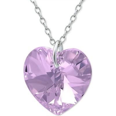 """メイシーズ Macy's レディース ネックレス ハート ジュエリー・アクセサリー Crystal Heart Crystal 18"""" Pendant Necklace in Sterling Silver Amethyst"""