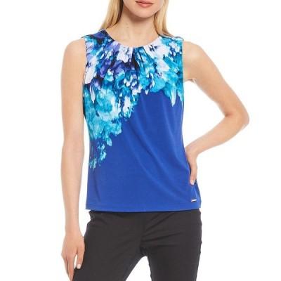 カルバンクライン レディース シャツ トップス Placement Floral Print Matte Jersey Pleat Neck Top Capri Multi