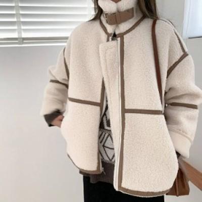 もこもこ ムスタンジャケット 3color 秋冬 長袖 もふもふ ブラック ホワイト ブラウン あったか 防寒 ハイネック アウター 無地 シンプル