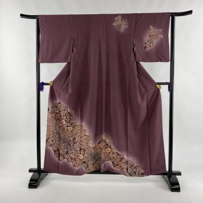 訪問着 秀品 辻が花 ぼかし 赤紫 袷 身丈160cm 裄丈63.5cm S 正絹 中古