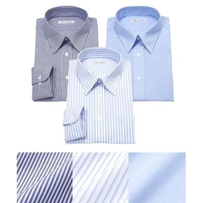 抗菌防臭・形態安定長袖ワイシャツブルー系3枚組(レギュラーカラー) (ワイシャツ)Shirts,