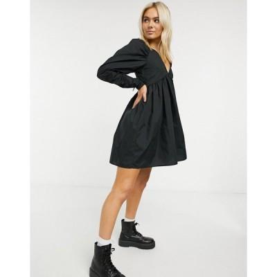 エイソス ミニドレス レディース ASOS DESIGN cotton babydoll mini dress in black エイソス ASOS sale ブラック 黒