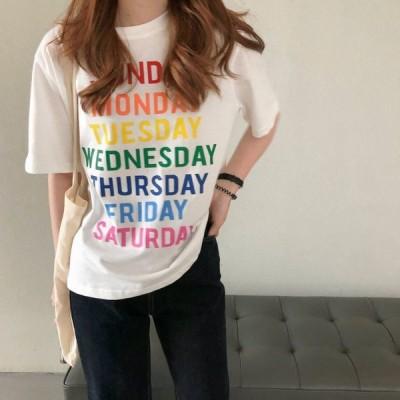 Tシャツ カットソー レディース 女性用 トップス 半袖 クルーネック 英字 ロゴ カジュアル おしゃれ カラフル ゆったり 普段使い 着回し力 夏服