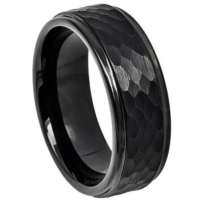 Jewelry Avalanche Hammered Tungsten Ring, Black IP Tungsten Wedding Ba