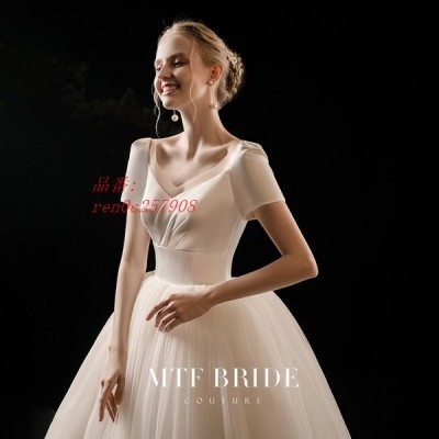 ウェディングドレス ウェディングドレス白 パーティードレス Vネック 露背 花嫁ロングドレス エレガント トレーンライン 挙式 お呼ばれ 結婚式 二次会