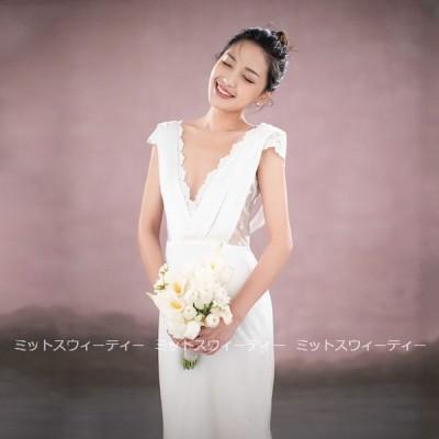 ウェディングドレス スレンダードレス ウエディングドレス 二次会 花嫁 パーティードレス 披露宴 ブライダル 結婚式 ロングドレス 白 大きいサイズ シンプル