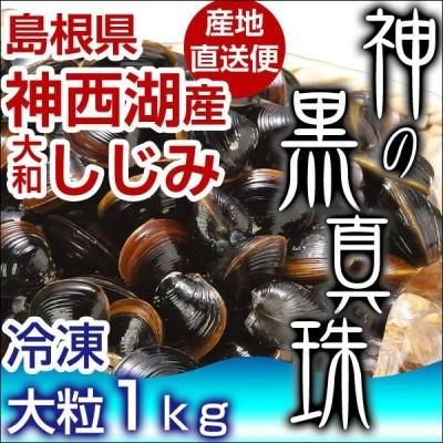 【送料無料】 島根県 神西湖産 大和しじみ 神の黒真珠 1kg 砂抜き済み クール便 真空パック