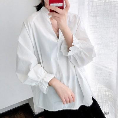 シャツ レディース ブラウス 長袖 チュニック トップス  春 秋 アウター 白 ホワイト 大きサイズ 体型カバー 20代 30代 おしゃれ