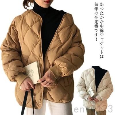 中綿ジャケットレディースショート丈キルティングジャケット着痩せアウターゆったり冬物体型カバーお洒落厚手羽織り防寒あったか