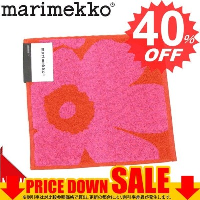 マリメッコ ハンドタオル MARIMEKKO UNIKKO 63837 TOWEL 25X25CM MINI 330 RED/PINK  ORGANIC COTTON 比較対象価格 1,404円