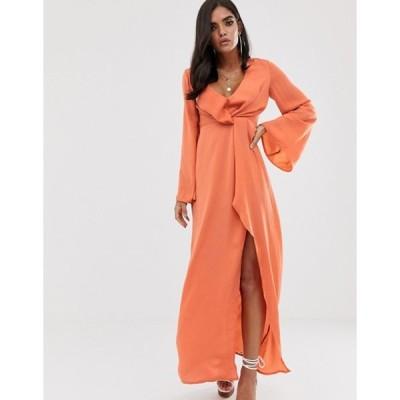 ミスガイデッド レディース ワンピース トップス Missguided satin maxi dress with twist detail and side split in peach