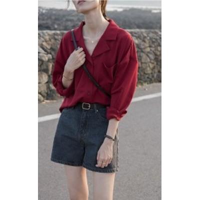 2色展開 おしゃれ Vネックシャツ シンプル 長袖 シャツ ブラウス レディース 大きいサイズ レトロ レッド ブラック リンネル系 193-65